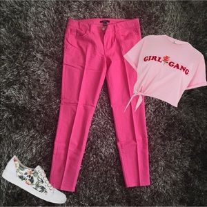Hot pink stretch jeans
